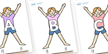 A-Z Alphabet on Star Jumps - A-Z, A4, display, Alphabet frieze, Display letters, Letter posters, A-Z letters, Alphabet flashcards