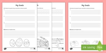 Goals for School Terms Activity Sheets-Irish - ROI Back to School Resources, goals, summer, Halloween, Easter, Mid term, self assessment, reflectio