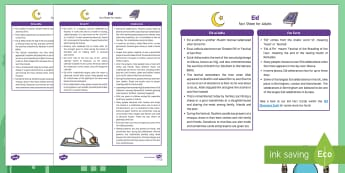Eid Fact Sheet for Adults - EYFS, Early Years, KS1, Understanding the World, exploration, discovery, finding out, facts, information, Islam, religion, festival, celebration, Muslim, Ramadan