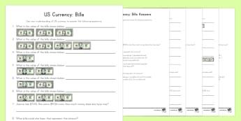 US Bills Differentiated Activity Sheets - currency, money, bills, dollar