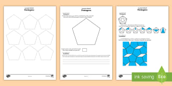 Pentagons Maths Investigation Activity Sheet Arabic/English - pentagram, polygon, sequence, pattern, investigate, tessellation, worksheet, EAL, Arabic.,Arabic-tra