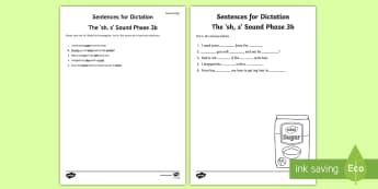 Northern Ireland Linguistic Phonics Stage 5 and 6, Phase 3b, 'sh, s' Dictation Sentences Activity - Linguistic Phonics, Stage 5, Stage 6, Phase 3b, Northern Ireland, sentences, dictation, words, 'sh