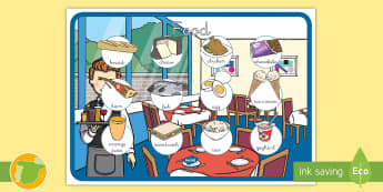 Póster DIN A4: Food - Inglés  - comida, alimentos, poster, lengua extranjera, inglés, english,Spanish-translation