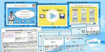 Computing: Microsoft Word Processing Skills: Symbols and Save Year 1 Lesson Pack 2