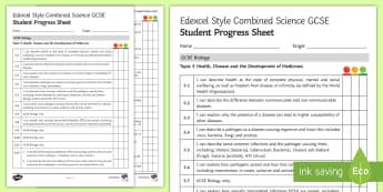 Edexcel Style Health, Disease and the Development of Medicines Student Progress Sheet - health, disease, infection, pathogen, bacteria, virus, fungi, protist, malaria, vector, host, lifest