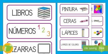 Tarjetas de vocabulario: El material de la clase - material, organización de la clase, ordenar, etiquetas,Spanish-translation