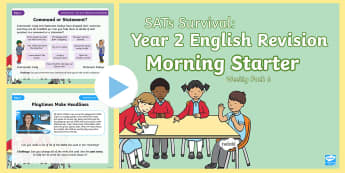 SATs Survival: Year 2 English Revision Morning Starter Weekly PowerPoint Pack 6 - SATs Survival Materials Year 2, SATs, assessment, 2017, English, SPaG, GPS, grammar, punctuation, sp