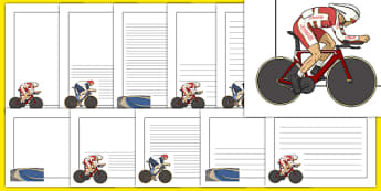 The Olympics Cycling Page Borders - Cycling, Olympics, Olympic Games, sports, Olympic, London, 2012, page border, border, writing template, writing aid, writing, activity, Olympic torch, events, flag, countries, medal, Olympic Rings, mascots, flame,