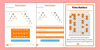 Prime Factors Activity Sheet Pack - Key Stage 2, Prime Factors, Prime Numbers, maths, worksheet