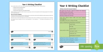 Year 6 Writing Checklist - KS2, year 6, writing, assessment, targets, checklist, progress, objectives, working towards, expecte