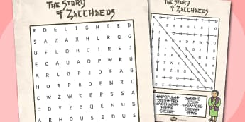Zaccheus the Tax Collector Bible Story Differentiated Wordsearch