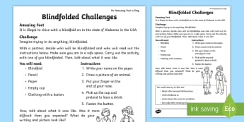 Blindfold Challenges Activity Sheet - Amazing Fact Of The Day, activity sheets, powerpoint, starter, worksheet, morning activity, May, bli