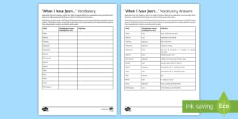 'When I have fears...' Vocabulary Go Respond Activity Sheets - keats, Romantic, fear, poetry, words, 19th