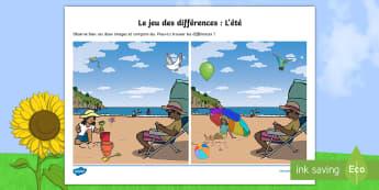 Jeu des différences : L'été - vêtements, couleurs, vocabulaire, plage, mer, vacances, sable, différences, jeu des différences,