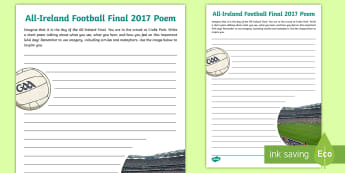 All Ireland Football Final Poem Activity Sheet - ROI, GAA, Worksheet, final 2017, football, mayo, dublin, poetry, Irish