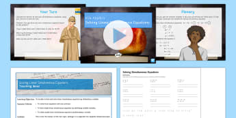 Solving Linear Simultaneous Equations Differentiated Lesson Pack - solve, algebra, KS4, GCSE, elimination, written method