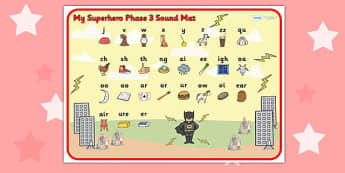 Superhero Themed Phase 3 Sound Mat - superheroes, phase three