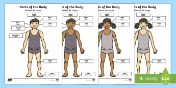 Parts of the Body Labelling Sheet English/Portuguese - Parts of the Body (A4) - parts of the body, Eyes, nose, mouth, display, chest, tongue, ourselves, al
