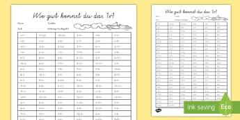 Wie gut kennst du das 1x1 Arbeitsblatt - times tables, challenge, maths, 1x1, Test, Mathematik, Multiplikation,German