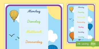 Wochentage Poster für die Klassenraumgestaltung - Wochentage, Wortschatz, Wochentage Poster, Tage in der Woche, Montag, Dienstag, Mittwoch, Donnerstag