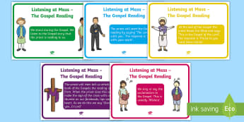 ROI Listening at Mass - The Gospel Reading A4 Display Poster - Confession & First Communion Resources, mass, gospel reading, priest, religion, communion, display