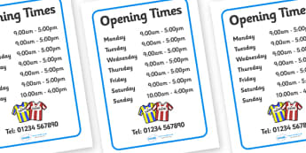 Sports Shop Role Play Opening Times - Sports, sport, shop, equipment, opening times, shop times, timetable, being healthy, keeping fit, equipment, football, rugby, cricket, ball, PE