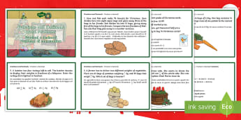 Fractions and Decimals Word Problems Christmas Maths Challenge Cards English/Italian - Christmas Maths KS2, Y5, Year 5, Y6, Year 6, fractions, decimals, word problems, EAL