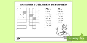 LKS2 Crossnumber 3-Digit Addition and Subtraction Activity Sheet - Add, Subtract, Crossword, Across, Down, Puzzle