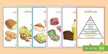 ملصق عرض هرم الغذاء - هرم، جدول، أطعمة، فرز، ملصق، عرض، أنواع، نشويات، دهون،