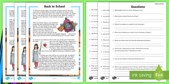 Back to School CfE Second Level Differentiated Differentiated Reading Comprehension Activity - transition, new, beginning, change, resilience, planning, ,Scottish