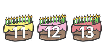 Numbers 11-20 on Birthday Cakes - Foundation Numeracy, Number recognition, Number flashcards, Birthday, cake, 11-20, counting