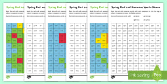 Springtime Phase 3 Phonics Mosaic Activity Sheet - Springtime UK, Spring, Seasons, Phonics, Mosaic, KS1, Year 1, Year 2, Reception, EYFS, Phonics Screen, P