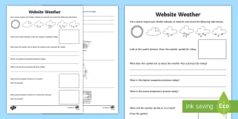 Website Weather Activity Sheet - weather, website weather, internet, geography, using ict, Science and Technology, Place, key stage 2