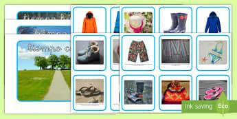 Ficha de actividad: Emparejar la ropa y el tiempo - ficha, tarjetas, clasificar, ordenar, ropa, tiempo, lluvia, sol, calor, frío, prendas, clima,Spanis