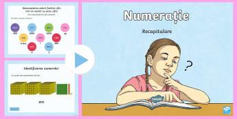 Numerație și valoare pozițională PowerPoint - mii sute, zeci și unități, numere din patru cifre, numerații 0 - 10 000, recapitulare numere,,Ro