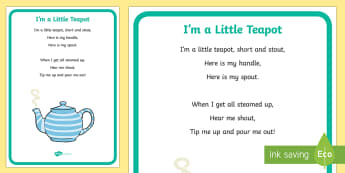 I'm a Little Teapot Nursery Rhyme Large Display Poster - rhymes, display, poster