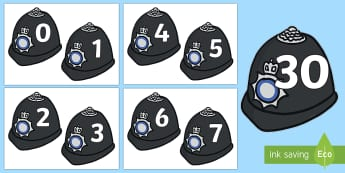 0-30 on Police Helmets Display Cut-Outs - Police Helmets 0-30 - police, people who help us, 0-30, images, numbers, display, maths, numeracy,nu