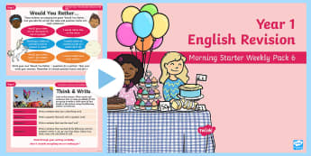 Year 1 English Revision Morning Starter Weekly PowerPoint Pack 6 - Spelling, Grammar, Reading, Writing, SPaG, morning task