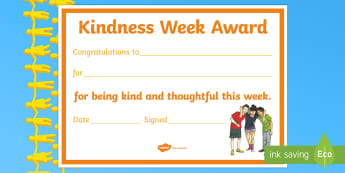 Kindness Week Certificate - kindness week, twinkl kindness week, kind resources