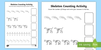 Skeleton Counting Activity Sheet  - addition sheets, addition, funny bones addition sheets, story book worksheets, +, adition, additon,