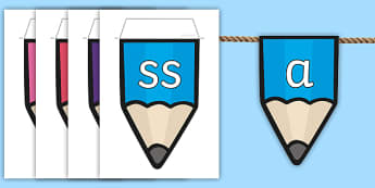 Phase 2 to 5 Phonemes on Pencil Themed Display Bunting - Alphabet on Pencil Bunting - alphabet, pencil, bunting, display, aplhabet, aphabet, alphablet, alpah