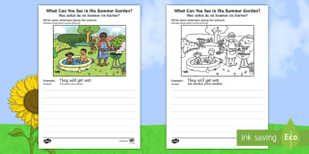 Summer Garden Writing Stimulus Picture English/German - Writing, independent, early years, EYFS, literacy, CLL, seasons, EAL, German,  English-German, summe