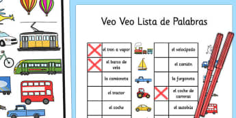 Veo Veo Lista de Palabras Transport Themed I Spy With My Little Eye Activity Spanish - spanish, activity, transport, i spy