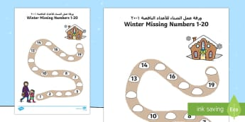 Numbers 1 100 on a Number Line Football Theme Arabic/English