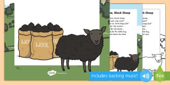 Baba Black Sheep - nursery rhyme poster, rhymes, display, poem
