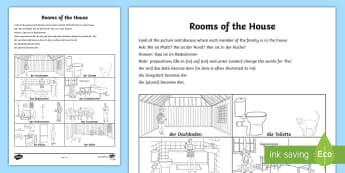 Rooms of the House Activity Sheet German - German Activities, German home, German family, German prepositions, German questions, German discuss