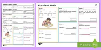 Procedural Year 5 Mat 2 Maths Activity Mats - English Medium - Procedural, national tests, money, time, measures, tests, test practice wales, Wales,Maths Acitvity