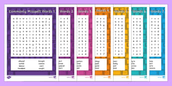 Commonly Misspelt Words Word Search - spelling, ks2 spelling, spellings, spelling activity, difficult spellings