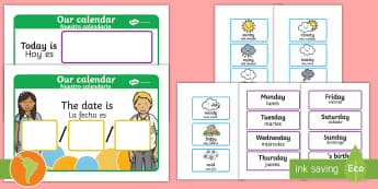 Daily Weather Calendar Weather Chart US English/Spanish (Latin) - Daily Weather Calendar Weather Chart - daily weather calender, weather chart, short date calender, s