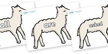 Tricky Words on Lambs - Tricky words, DfES Letters and Sounds, Letters and sounds, display, words